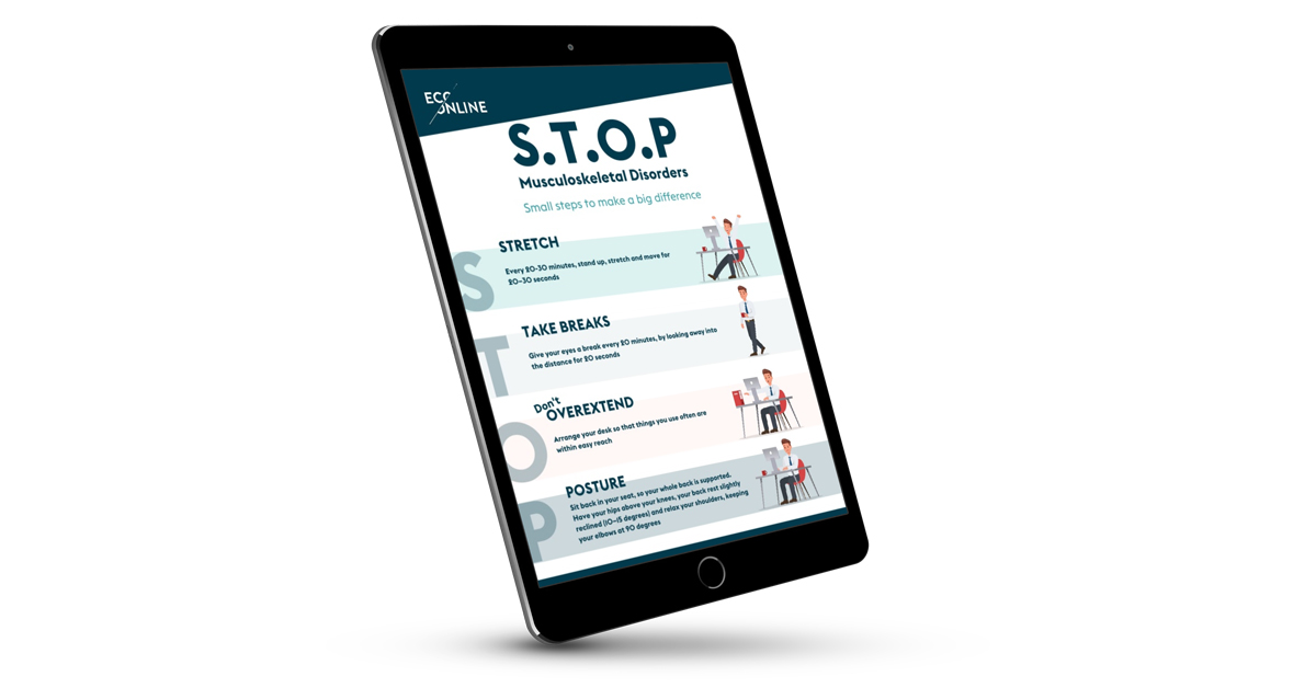 Tablet showing the STOP poster on screen