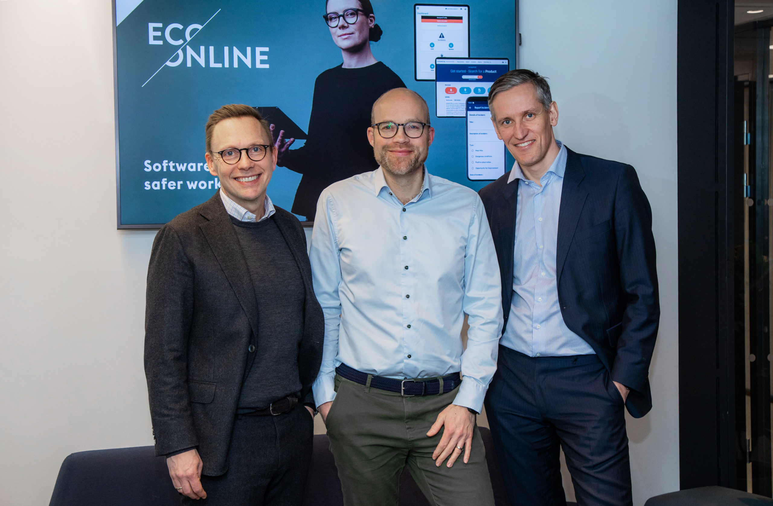 EcoOnline CEO and partners from Summa Equity and Viking Venture celebrate new investment from Goldman Sachs