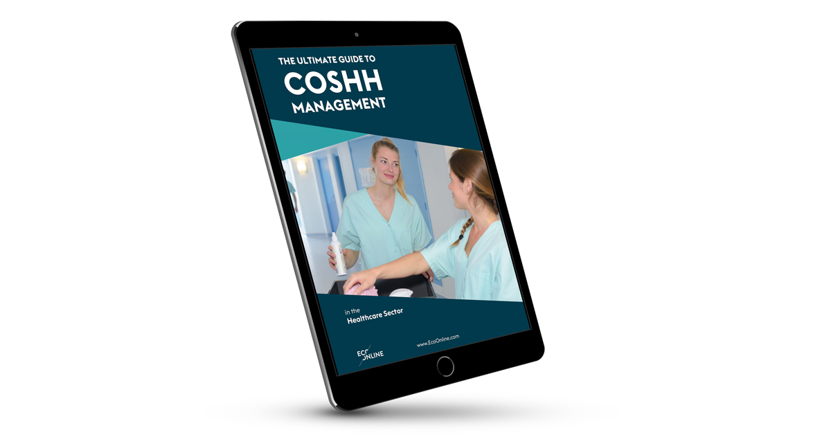 COSHH Healthcare Guide cover on tablet screen