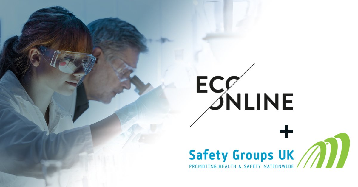 EcoOnline and Safety Group UK logo overlaid on a girl working in a lab