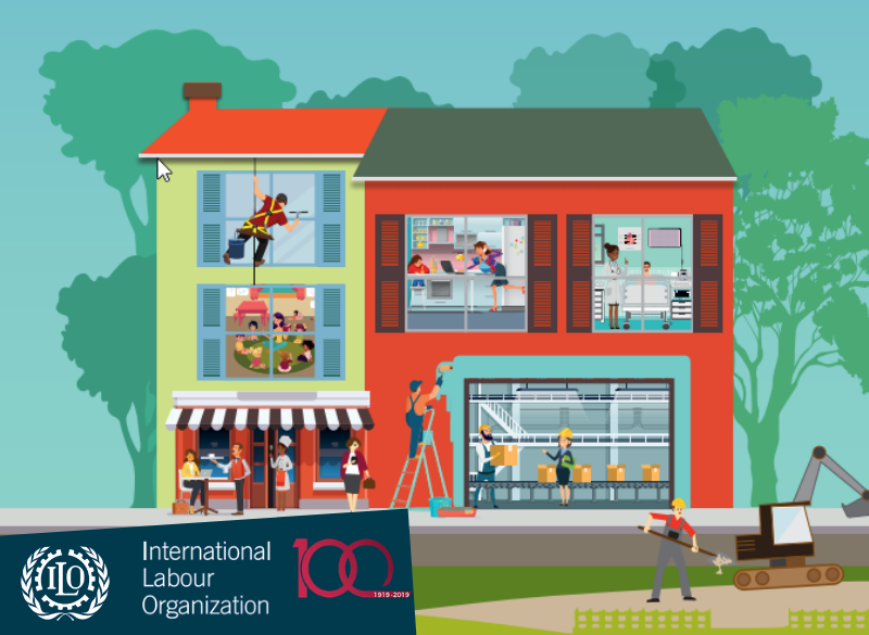 Vector graphic of a building showing people of various occupations working in and around it
