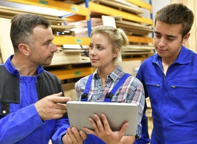 People standing in a timber processing warehouse, wearing PPE and reviewing information on a digital device.