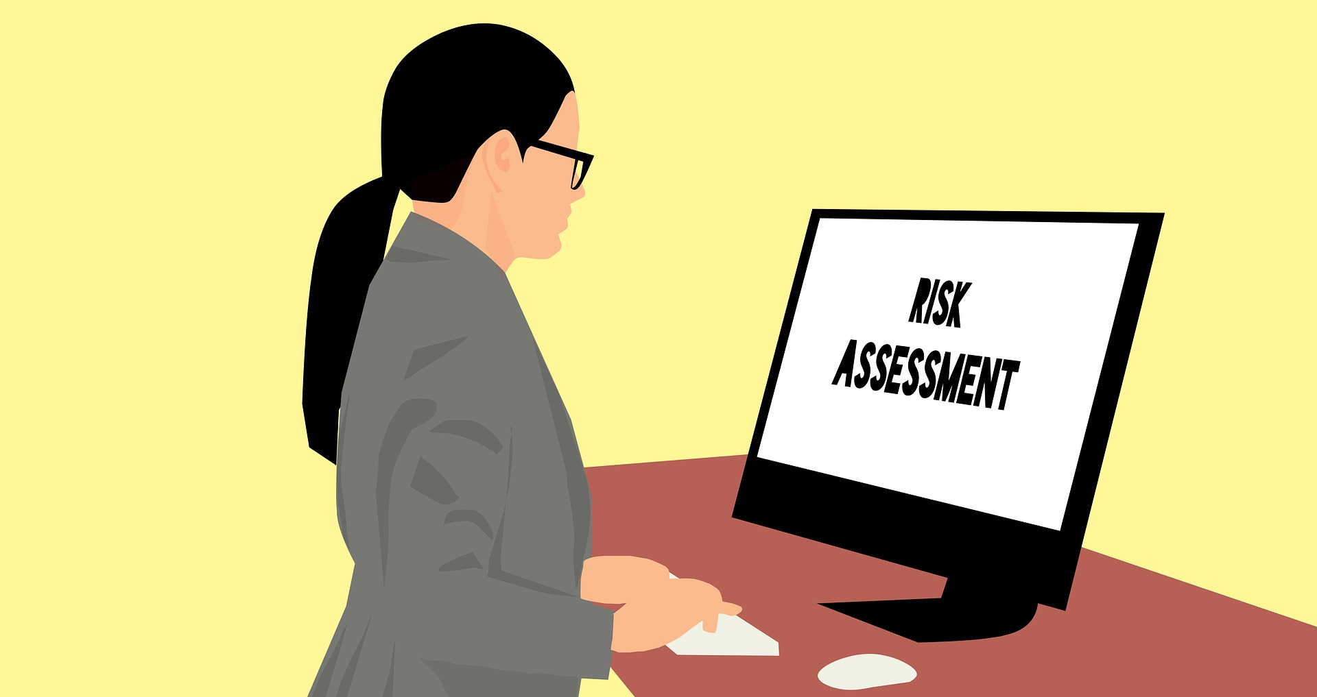 Business woman using risk assessment